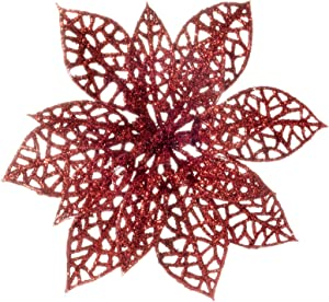 12 Pcs Christmas Tree Decorations Glitter Red Poinsettia,Artificial Poinsettias Flowers Christmas Tree Ornaments for Christmas Party Decor