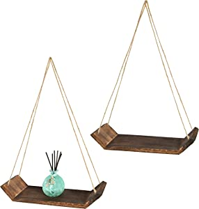 Northbay Styles Boho Wall Hanging Shelf - Set of 2 Wood Hanging Shelves for Wall - Floating Triangle Shelves for Bedroom Living Room & Bathroom - Rustic Modern Wooden Rope Shelves Indie Room Decor
