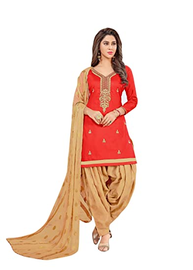 592bb478be Abeer Designer Red Color Cotton Fabric Embroidered Kurta and Salwar Suit  Unstitched Dress Material With Dupatta For Women: Amazon.in: Clothing &  Accessories