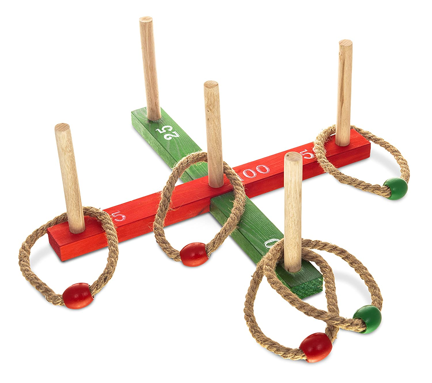 Fineway. Classic Quoits Ring Toss Rope Pegs Hoopla Wooden Outdoor Family Garden Fun Game - Ideal for Sports Day, Garden Parties and Picnics