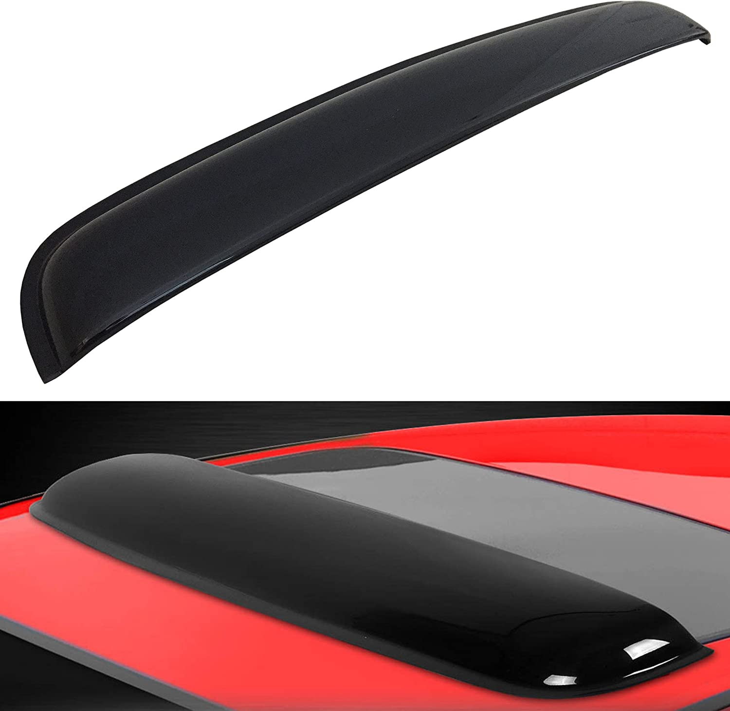 "Mega Racer 980MM / 38"" JDM Style Black Universal Fit Sunroof Wind Deflector Roof Spoiler Moon Roof Visor Sunroof Visor Sunroof Deflector Sunroof Wind Deflectors Moonroof Visor Waterproof Tape Smoke"
