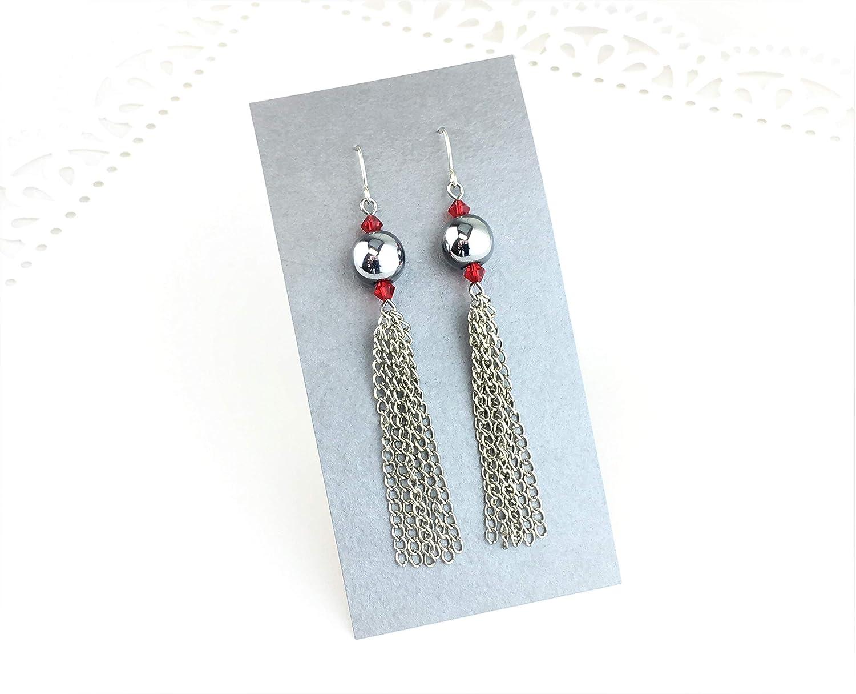 "Gorgeous 4/"" long black hematite chain tassel /& blue bead drop earrings NEW"
