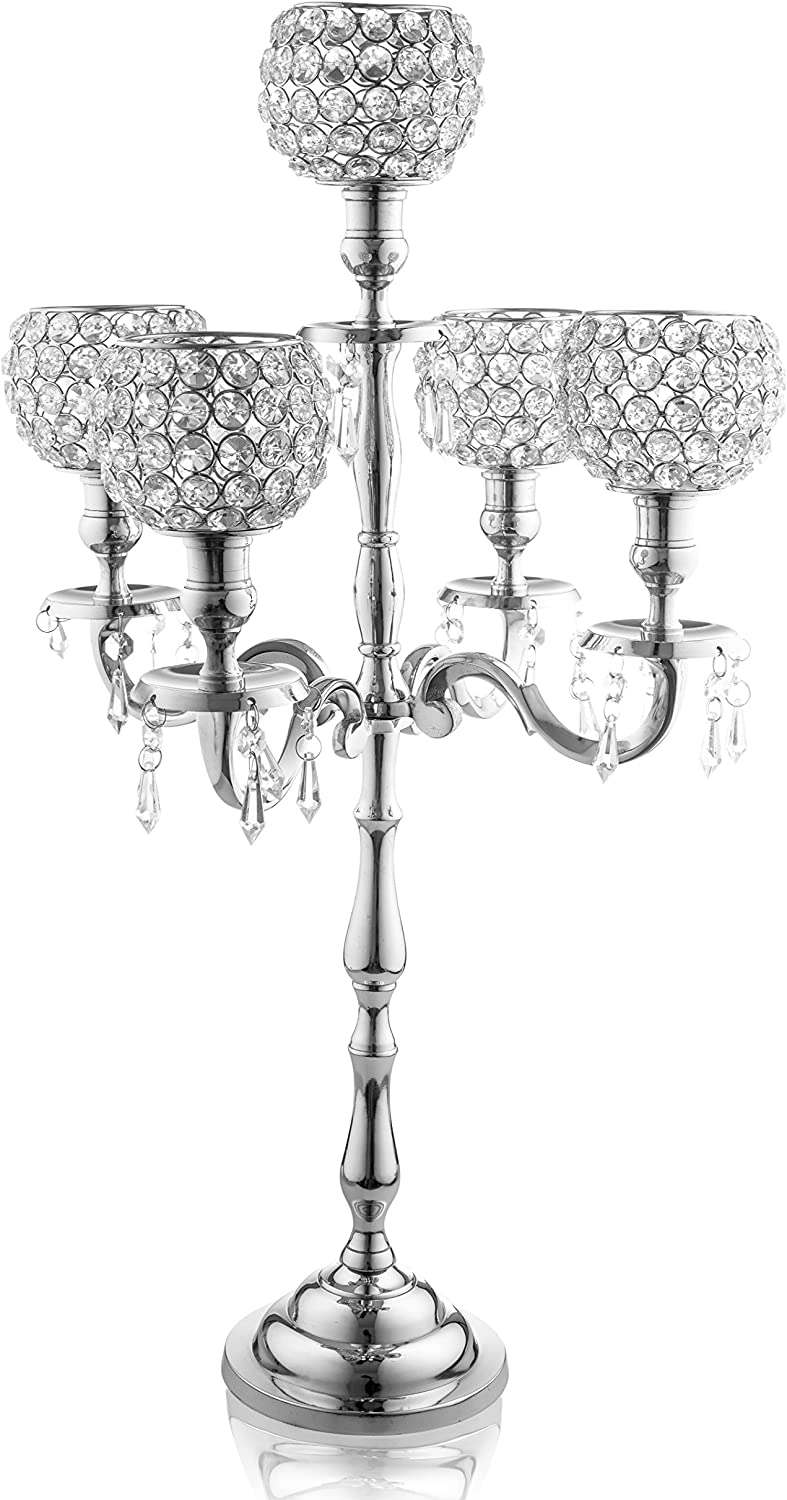 Klikel 5 Arm Candelabra | Wedding Table Centerpiece | Silver Candelabra | Candle Holder is Nickel Plated Aluminum With Acrylic Crystal Dangles And Globes | 24 Inch High