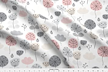 Amazon Spoonflower Flower Fabric Pastel Pink And Gray Poppy