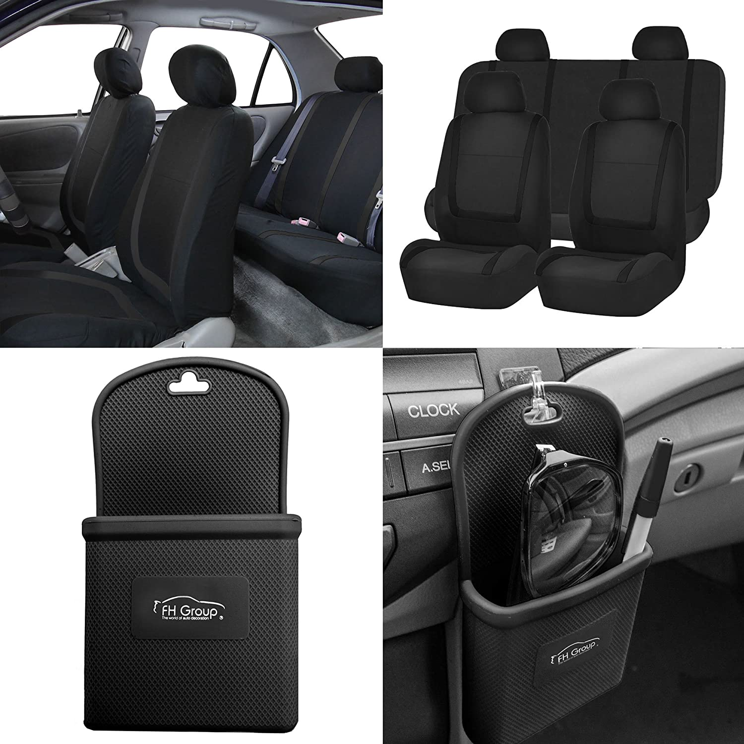 Fit Most Car Truck SUV FH Group FH-FB063115 Full Set Sports Fabric Car Seat Covers Solid Black Or Van Airbag Compatible and Split Bench