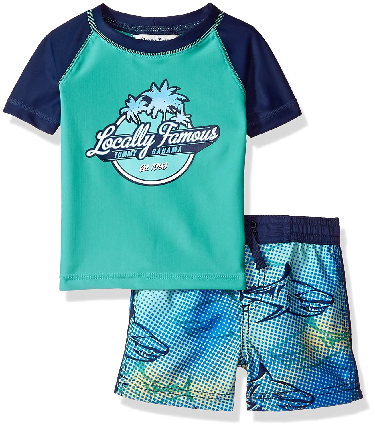 Tommy Bahama Baby Boys' Hawaiian Quarter Zip Sleeve Rash Guard Swim Short Set ST117621