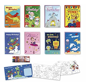 Coloring Birthday Cards Box Assortment Set 8 Pack Kids Bulk For