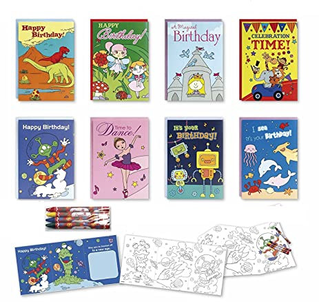 Amazon Coloring Birthday Cards Box Assortment Set 8 Pack Kids – Assorted Birthday Cards in Bulk