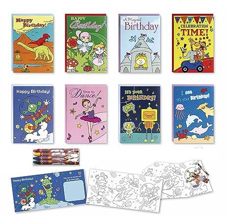 Amazon Coloring Birthday Cards Box Assortment Set 8 Pack Kids