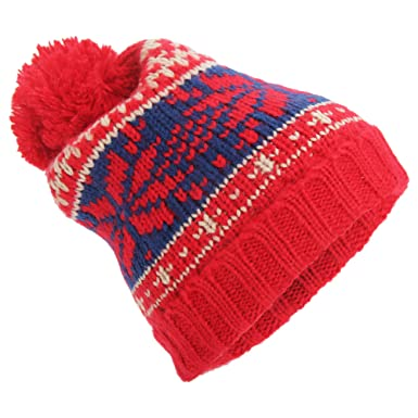 0118bb97ced Universal Textiles Mens Fair Isle Knit Winter Beanie Hat With Pom Pom (One  Size) (Red Blue)  Amazon.co.uk  Clothing