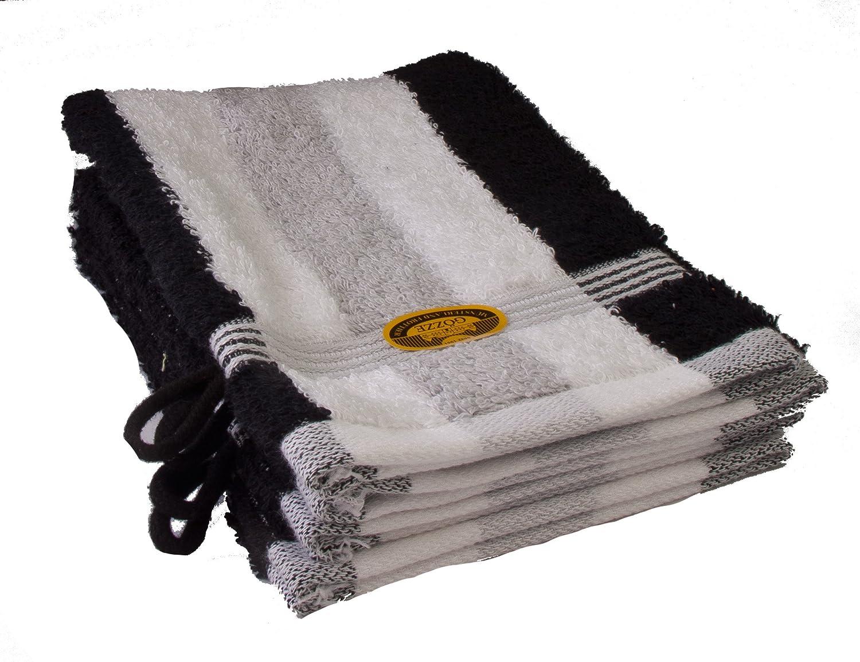 Gözze Waschhandschuh 4er-Set, 100% Baumwolle, 17 x 24 cm, New York, Streifen, Anthrazit/Weiß/Rot, 555-8600-A1 Anthrazit/Weiß/Rot