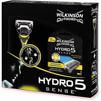 Wilkinson Sword Pack Hydro 5 Sense - Kit Con Máquina De Afeitar Recargable De 5 Hojas Con Gel Hidratante Para Hombre + 4 Cuchillas De Recambio, Afeitado Manual Masculino: Amazon.es: Salud y cuidado personal