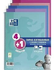 Oxford - Pack de 5 cuadernos (tapa extradura, 80 hojas, cuadrícula 4x4 con margen) Rosa Chicle/Ice Mint/Malva/Fucsia/Turquesa