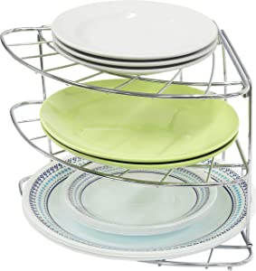 Simple Houseware 3-Tier Counter Corner Shelf Organizer, Chrome