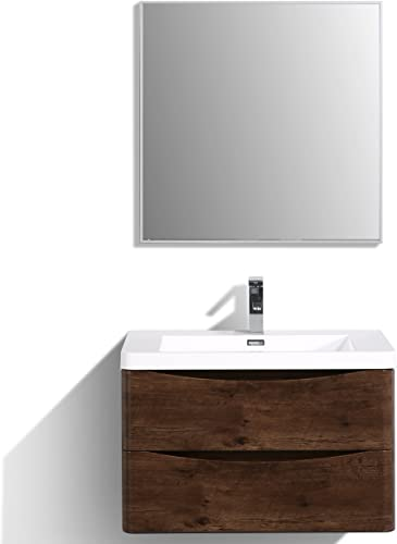 Eviva EVVN760-30RSWD-WM Smile 30″ Rosewood Modern Bathroom Vanity Set
