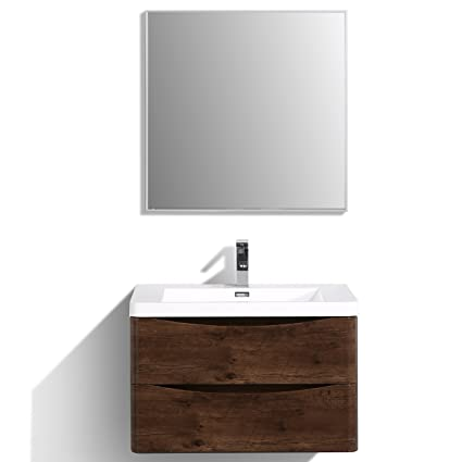 . Eviva EVVN760 30RSWD WM Smile 30  Rosewood Modern Bathroom Vanity Set with  Integrated White Acrylic Sink Combination