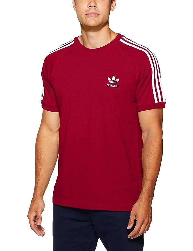 adidas Herren 3-Streifen Trainingsshirt T-Shirt Weinrot (Burgunder) mit weißen Streifen.
