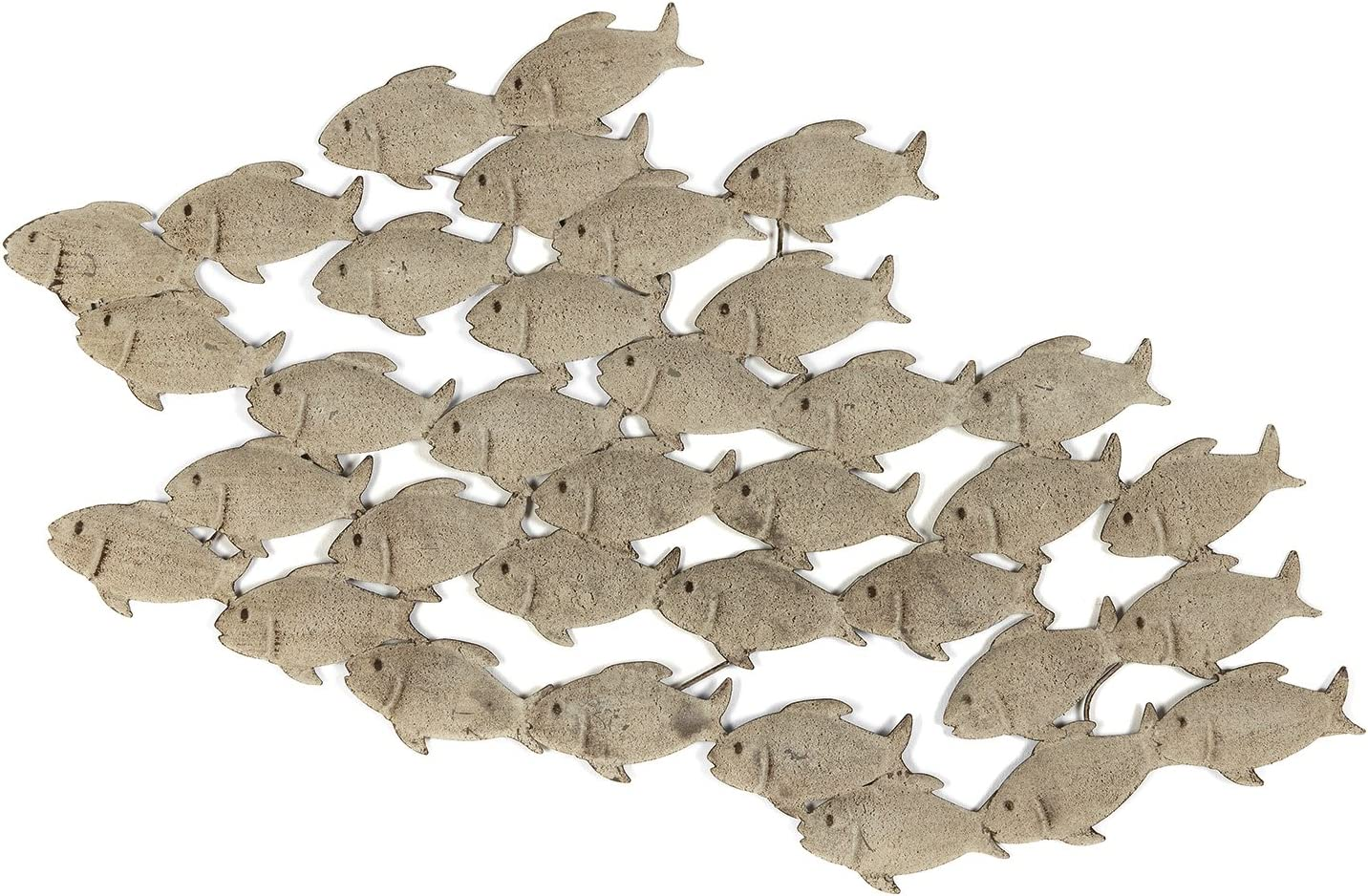 Cape Cod Large School of Fish, Hand Crafted Metal Wall Decor, Antiqued and Distressed Sand Color, 3 Ft 2 Inches Long (38.25 Inches- 97 cm)