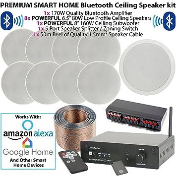 SMART HOME BLUETOOTH SPEAKER KIT-8x 80W Low Profile: Amazon co uk