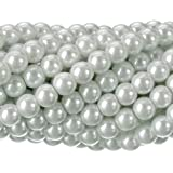 RUBYCA 200Pcs Czech Tiny Satin Luster Glass Pearl Round Bead for Beading Jewelry Making 6mm White