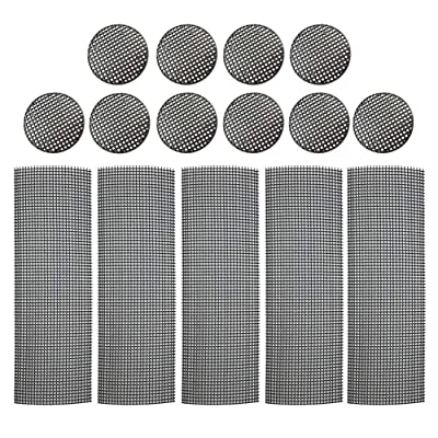 Flower Pot Hole Mesh Pads 15 PCS Plastic Mesh Screen - 5 PCS 10x30cm Bonsai Bottom Grid Mat and 10 PCS 4.6cm Diameter Round Rigid Polyethylene Garden's Drainage Mesh Hole Screens: Garden & Outdoor