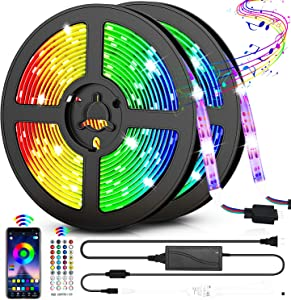 LED Strip Lights, 32.8ft RGB LED Light Strips 300 LEDs SMD5050 Color Changing Light Strips, Voice and Music Sync Smart LED Tape Lights for Home, TV, Bar and Party Decoration-Remote Control