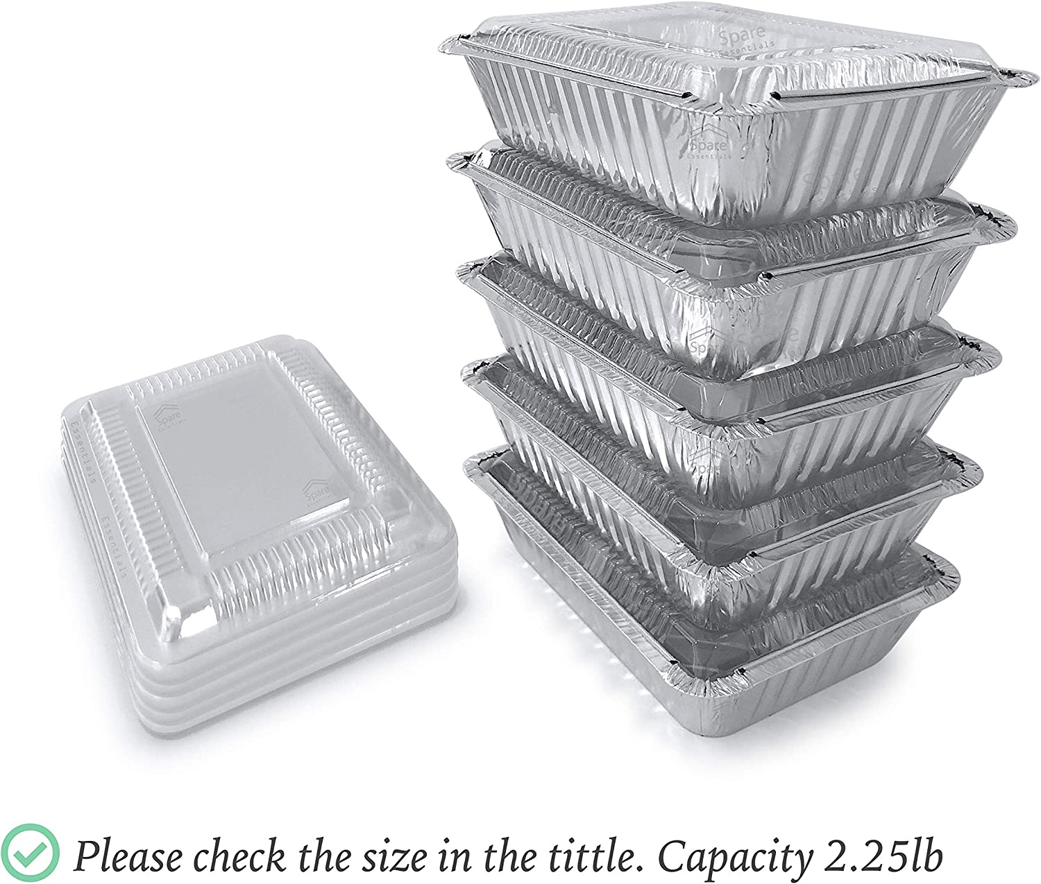 """55Pack - 2.25 LB Aluminum Foil Pan/Food Containers/With Plastic Lids I Disposable Aluminum Pans I Foil Food Trays From Spare 2.25 Lb Capacity 8.5""""x6""""x1.5"""" BIG Size"""