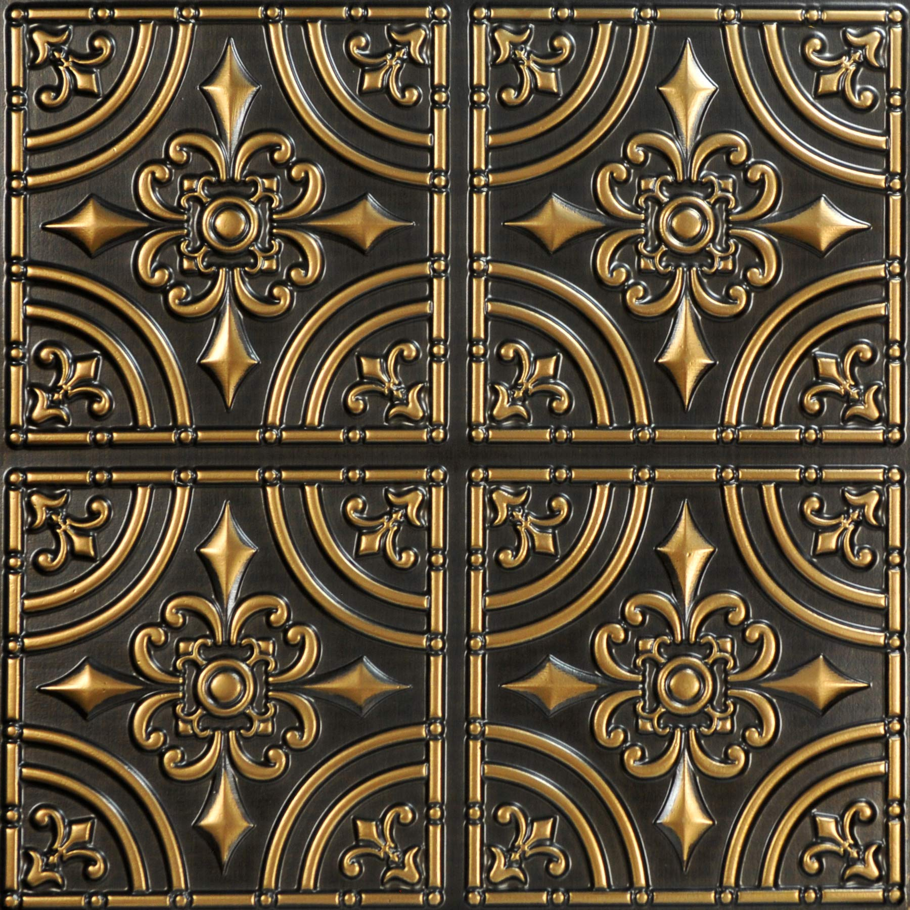 From Plain To Beautiful In Hours 205ag-24x24-25 Wrought Iron Ceiling Tile Antique Gold 25