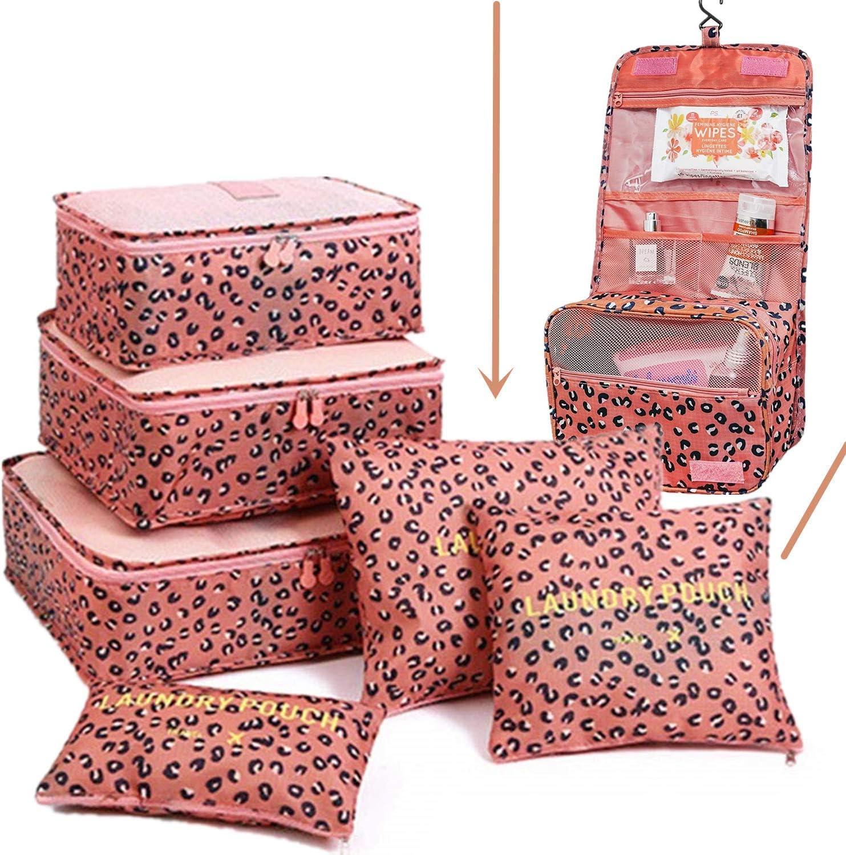 L/éopard Rose Set Organiseurs de Bagage Voyage Suspendre Trousse de Toilette Portable Suspendre Pliable Sac Toilette /étanche Sac Cosm/étique Sac de Rangement de Valise Voyage Sacs de Compression
