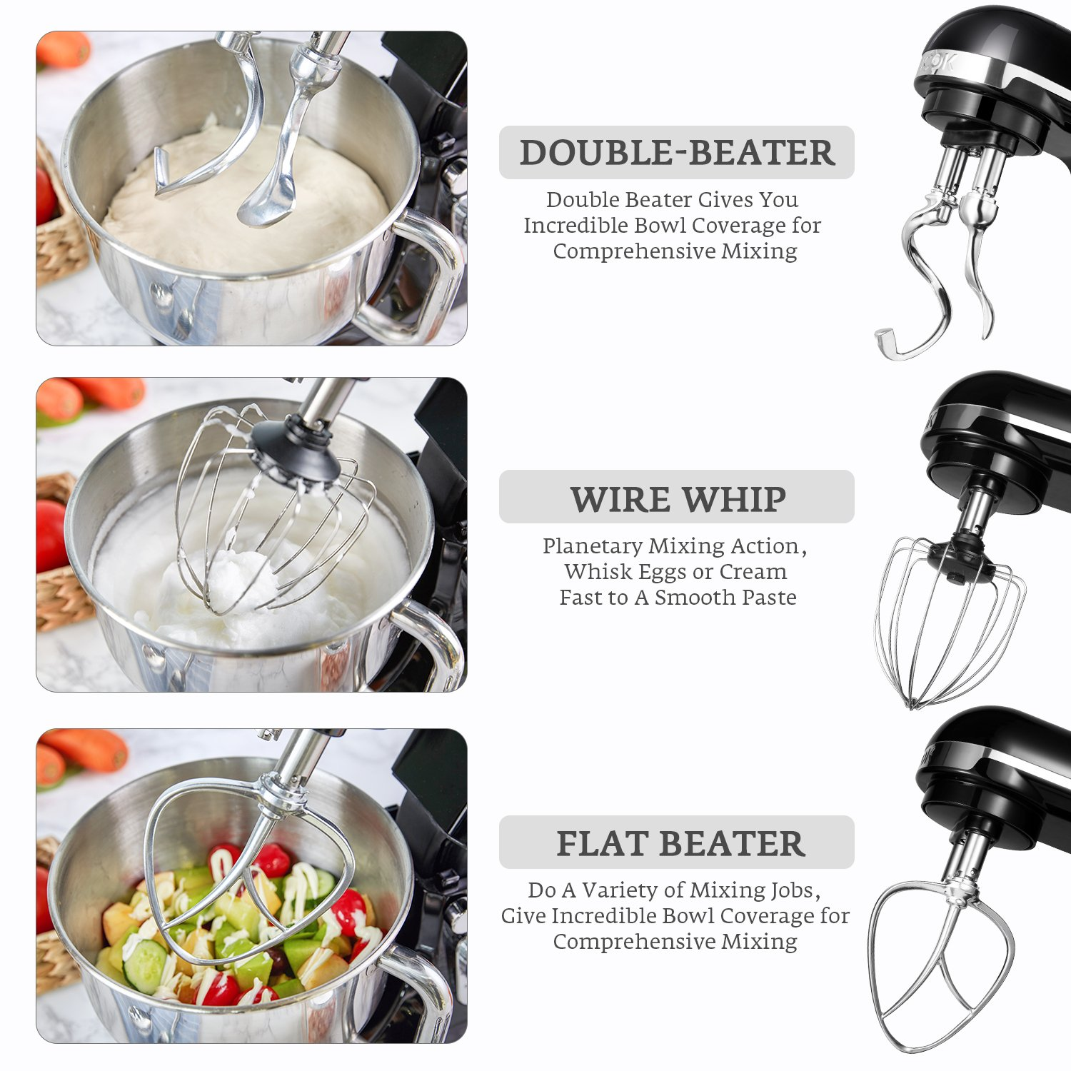 Stand Mixer, Aicok Dough Mixer with 5 Qt Stainless Steel Bowl, 500W 6 Speeds Tilt-Head Food Mixer, Kitchen Electric Mixer with Double Dough Hooks, Whisk, Beater, Pouring Shield, Black by AICOK (Image #6)