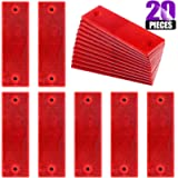 Swpeet 20Pcs Universal Red Plastic Rectangular Stick-on Car Reflector Sticker, Door Reflectors Interior Red Compatible…