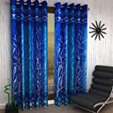 Home Sizzler Shalimar Frill Panel 20 2 Piece Eyelet Polyester Window Curtain Set - 5ft, Blue