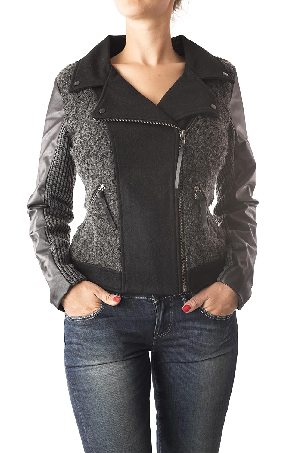 Miss Me Women's Moto Jacket with Faux Leather