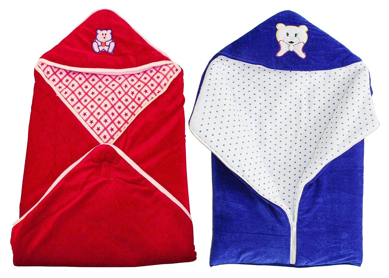 My NewBorn Velvet Baby Blanket Wrapper Baby Sleeping Bag with Zipper (Pack of 2, Blue/Red)