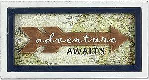 "Young's 10"" x 1"" x 5.25"" Adventure Awaits Arrow Wooden Box Sign"