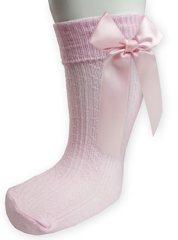 Baby Babies Toddler Girls Socks Pom Pom Grey White Pink Red Blue Knee High NB-18