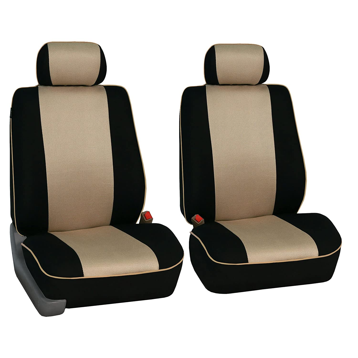 Gray // Black- Fit Most Car FH GROUP FB064102 Cross Weave Fabric Pair Set Seat Covers Suv or Van Airbag Compatible Truck