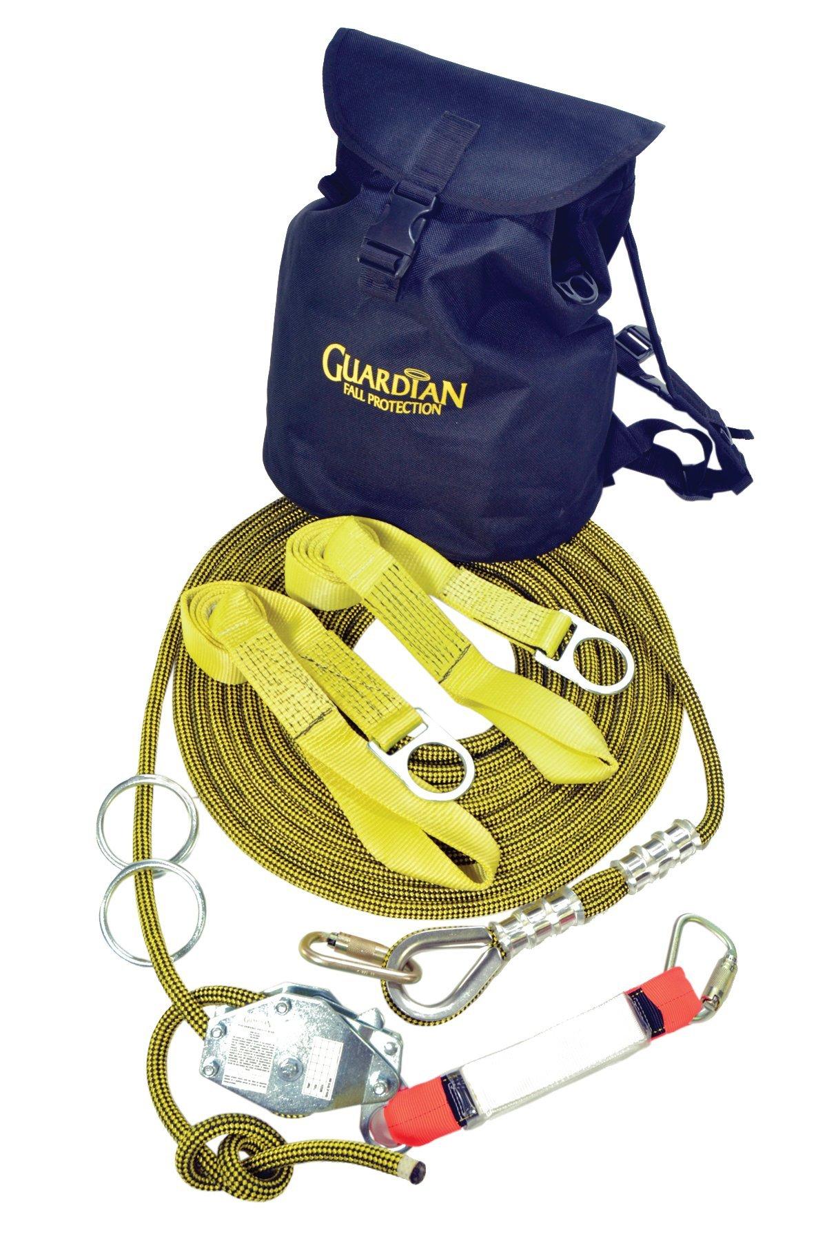 Guardian Fall Protection 04639 Kernmantle Horizontal Lifeline System with Tensioner, 2 O-Rings, 2 Web Slings, 2 Steel Carabineers and SOS-Bag, 60-Foot