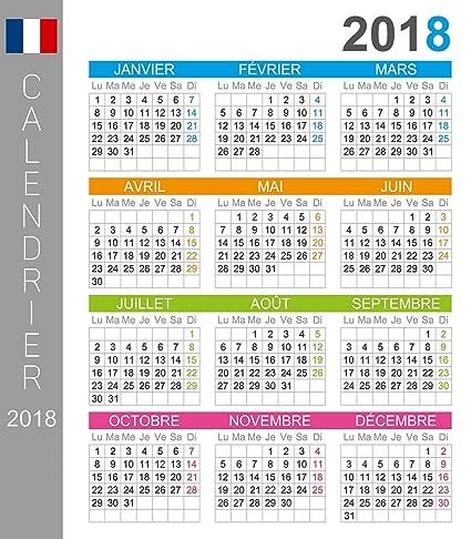 Calendario Frances.2018 Calendario De Pared Frances Dias Y Meses En Idioma