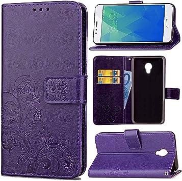 Guran Funda de Cuero PU para Meizu M5S Smartphone Función de Soporte con Ranura para Tarjetas Flip Case Trébol de la suerte en Relieve Patrón Cover: Amazon.es: Electrónica