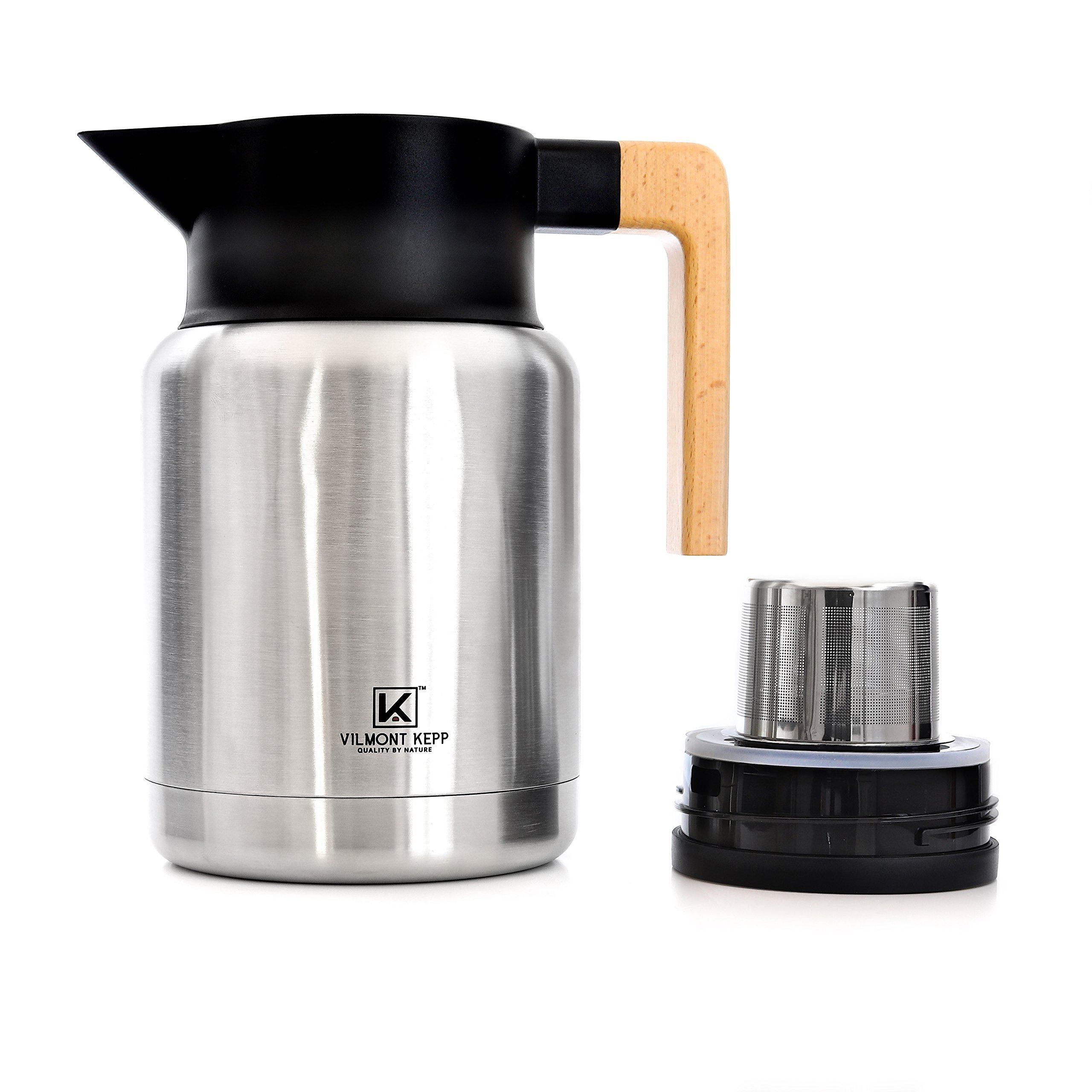 Vilmont Kepp Premium Large Thermal Carafe Coffee Tea Dispenser | Cold Beverages | 18/8 Stainless Steel Beechwood Handle (50oz) | Home Office | Gift | 8.5 inches High
