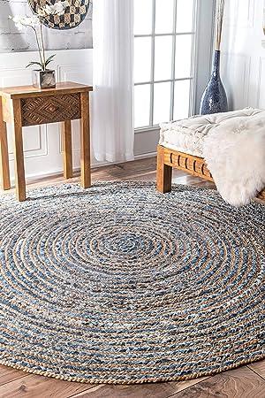 JAI SHRI SHYAM Natural Jute Round Hand Woven Decorative Rug/Durry/Carpet/Mat for Home Living Room (Dia 120 cm)