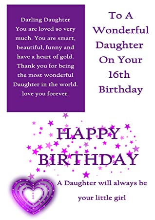 Daughter 16th Birthday Card With Removable Laminate Amazon
