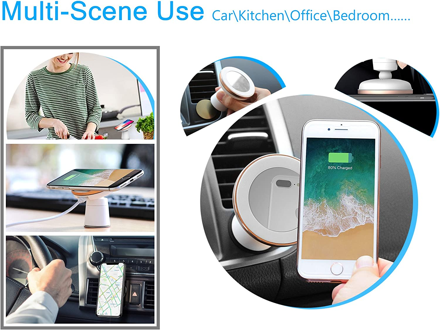 WYNK Magnetic Wireless Car Charger Metal Rings with 3M Sticker 2PCS for Wx /& Fx Qi Car Charger Series 1B1G Size: 2.6inch//66MM - 2.0inch//51MM