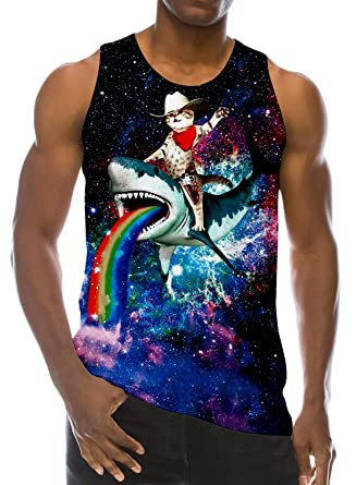 c04839f8c chicolife 3D Graphic Print Funny Sleeveless T-Shirts Pattern Realistic Vest  Underwaist Gym Tank Tops for Men: Amazon.co.uk: Clothing