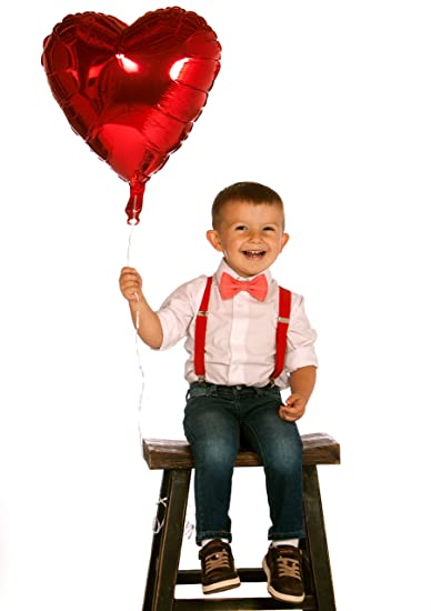 22266a1f5cf1f Armoniia Boys Valentines Outfit - Coral Bow Tie & Red Suspenders. Sizes -  Baby to Adult.