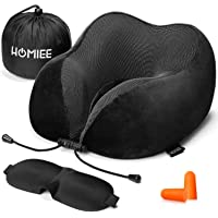 HOMIEE Travel Pillow, Neck Support Memory Foam Cushion Essentials with Sleep Mask, Earplugs -Portable Storage Bag Included, Ideal for Travelling and Flights