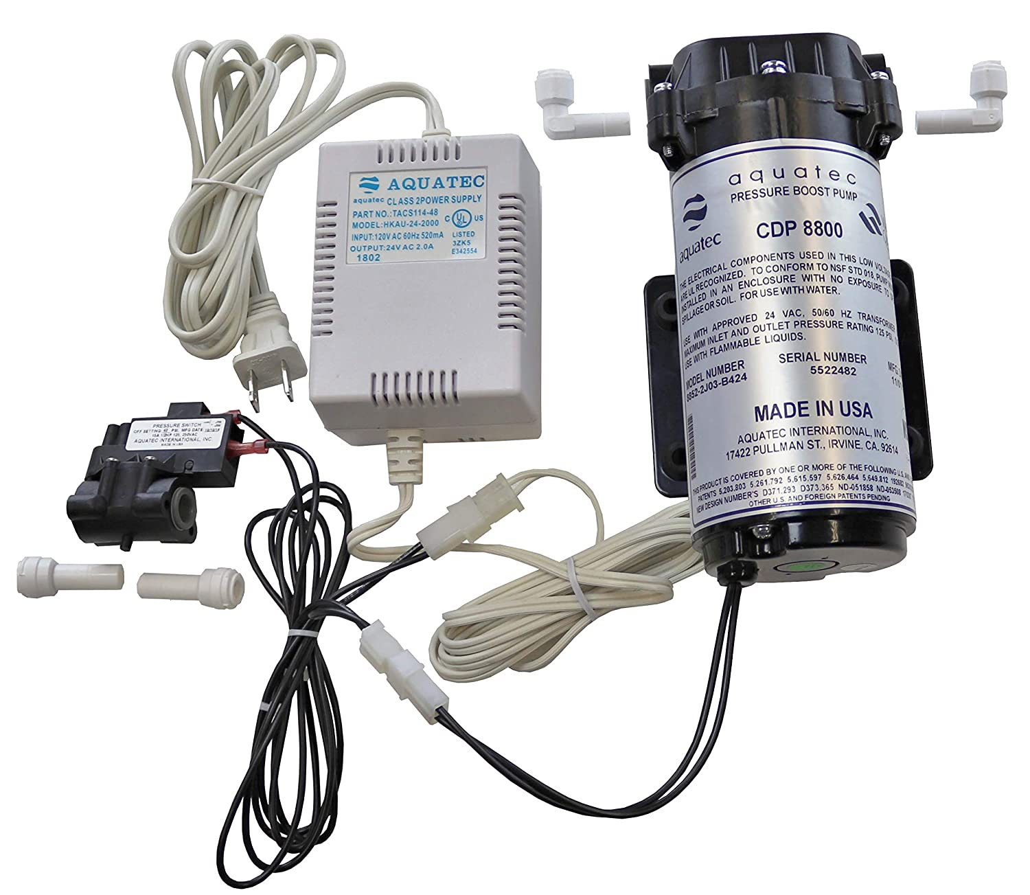 Aquatec 8800 Booster Pump Kit for up to 200 GPD RO Reverse Osmosis water filtration system for both standard and manifold type systems 8852-2J03-B424 PSW-340 Made in USA