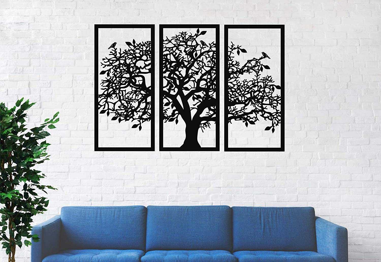 "3 Panels Family Tree Metal Wall Decor Tree of Life Metal Wall Art, Home Bedroom Living Room Decor 3D Wall Art 3 Panels Family Tree Metal Wall Decor Modern Decoration (Black, 43""W x 30""H / 110 x 75 cm)"