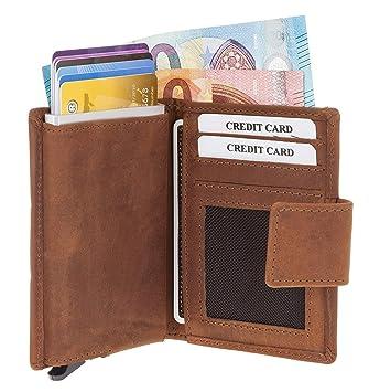 105204c3e2fca Figuretta Premium RFID Geldbörse braun  quot SALISBURRY quot  vintage Look  - Praktische Minibörse mit Aluminium